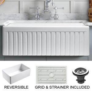 Sutton Place Farmhouse Fireclay 33″ Single Bowl Kitchen Sink with Grid and Strainer in White