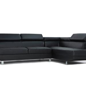 Mobilis 2 pc Modern Faux Leather Right Facing Chaise Sectional Sofa, Black