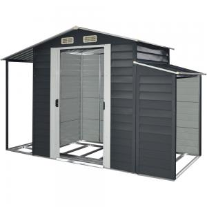 Hanover 3-In-1 Galvanized Steel Multi-Use Shed with Separate Firewood Storage and Open Extension