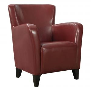 30″ x 30″ x 35″ Red, Black, Foam, Solid Wood, Leather-Look – Accent Chair