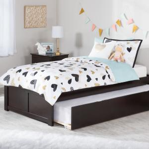 Concord Twin Platform Bed with Flat Panel Foot Board and Twin Size Urban Trundle Bed in Espresso