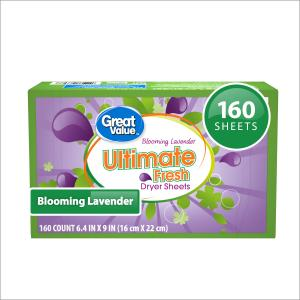 Great Value Ultimate Fresh Dryer Sheets, Blooming Lavender, 160 count