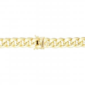 10K Yellow Gold Polish 10.50mm Semi-Solid Classic Miami Cuban Bracelet With Box Clasp 8.50in
