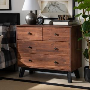 Baxton Studio Calla Modern and Contemporary Brown and Black Oak Finished 4-Drawer Wood Dresser