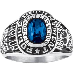 Personalized Women's Police Department Ring available in Valadium Metals, Silver Plus, 10kt and 14kt Yellow and White Gold