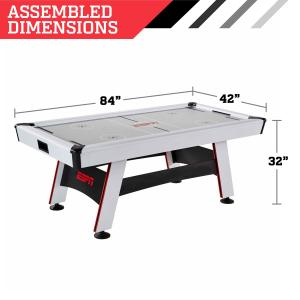 ESPN 84″ Glacier Arcade Air Hockey Game Table, Inlaid Electronic Scorer, White/Red