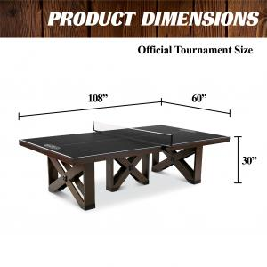Barrington Fremont Collection 18mm 2 Piece Indoor Table Tennis Table, Easy Assembly, Brown