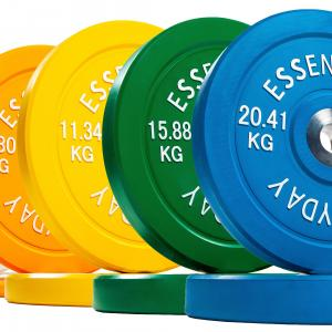Everyday Essentials Color Coded Olympic Bumper Plate Weight Plate w Steel Hub, 260 lbs