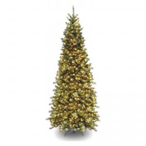 National Tree Tiffany Fir Slim Tree with Clear Lights-Size:12 ft