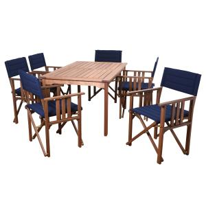 Amazonia Mooresville 7 Pieces Rectangular Outdoor Dining Set Eucalyptus Wood, Ideal for Patio