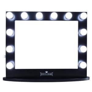 ReignCharm Hollywood Vanity Mirror, 12 LED Lights, Dual Outlets & USB, 32-inches x 27-inches, Matte Black