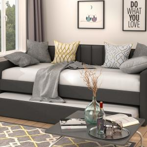 EUROCO Modern Fabric Upholstered Twin Daybed with Guest Trundle, Gray