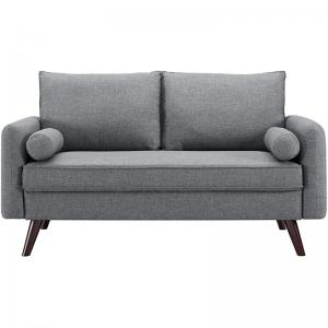 Lifestyle Solutions Calden Mid-Century Modern Design Upholstered Loveseat, Grey