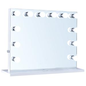ReignCharm Hollywood Vanity Mirror, 12 LED Lights, Dual Outlets & USB, 32″W x 27″H