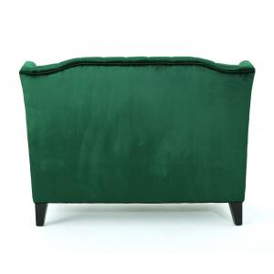 Noble House Lenore Traditional Tufted Winged Velvet Loveseat, Emerald