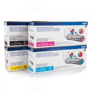 Brother Genuine Standard Yield Black, TN221BK, and High Yield Colors Toner Cartridge Set, TN225C, TN225M and TN225Y, Replacement Cyan, Magenta and Yellow Toners