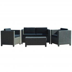 Black Outdoor Wicker Sofa Set