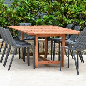 Amazonia Leuven Solid Wood 9 Pieces Extendable Rectangular Patio Dining Set