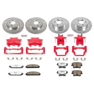 Power Stop Front and Rear Z26 Street Warrior Brake Pad and Rotor Kit with Red Powder Coated Calipers KC2853-26