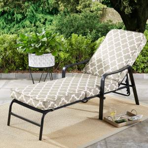 Mainstays Cabot Grove Outdoor Chaise Lounge with Gray/White Cushions