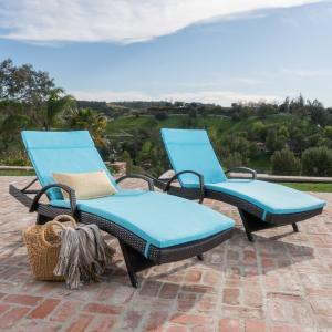 Anthony Outdoor Wicker Adjustable Chaise Lounge with Arms and Cushion, Set of 2, Multibrown, Blue