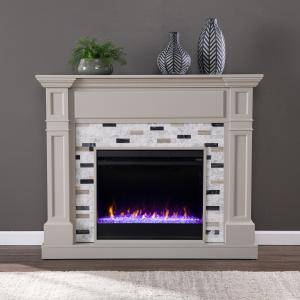 Bikahri Color Changing Electric Fireplace w/ Marble Surround