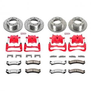 Power Stop Front and Rear Z36 Truck & Tow Brake Kit with Red Powder Coated Calipers KC2073-36
