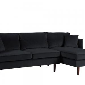 Mobilis Mid-Century Modern Brush Microfiber L-Shape Sofa with Extra Wide Chaise Lounge, Black