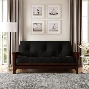 DHP 8 Inch Independently Encased Coil Futon Mattress, Black Microfiber