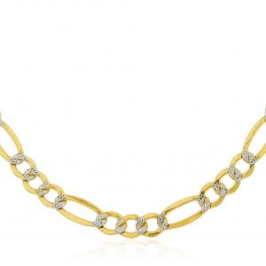 Jewelers 14K Solid Gold 5MM Diamond-cut Pave Figaro Chain Necklace BOXED