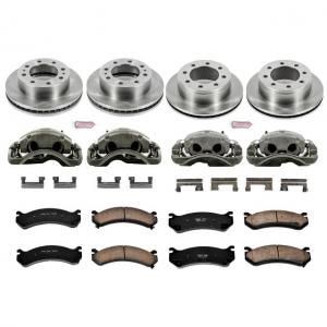 Power Stop Front and Rear Stock Replacement Brake Pad and Rotor Kit with Calipers KCOE2073