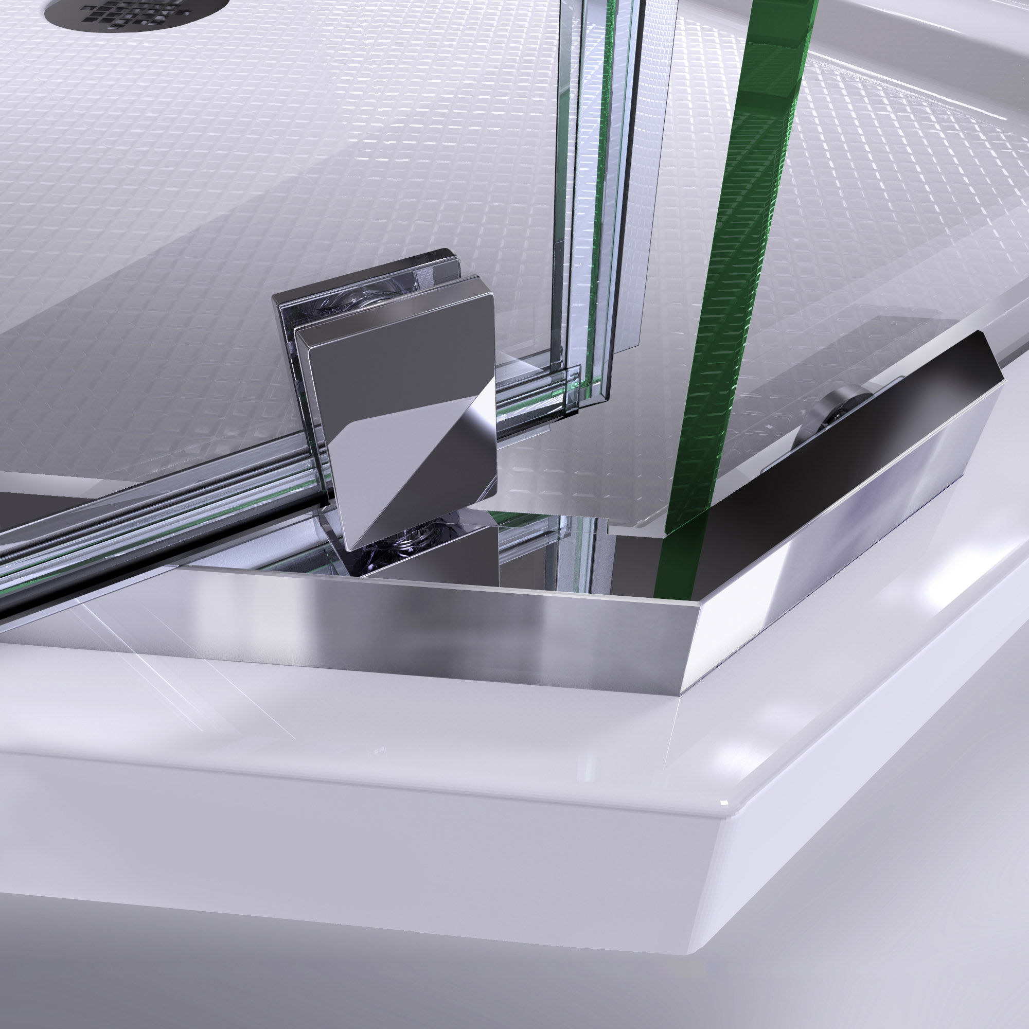 DreamLine Prism 36 in. x 74 3/4 in. Frameless Neo-Angle Pivot Shower Enclosure in Chrome with Biscuit Base Kit
