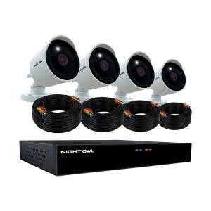 Night Owl Wired DVR with Pre-Installed 2TB Hard Drive and 4 4K Ultra HD Wired Spotlight Cameras