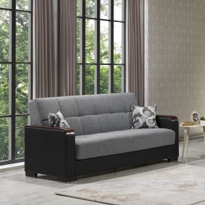 Armada Wooden Armed Fabric Convertible Sofa Sleeper Bed with Storage