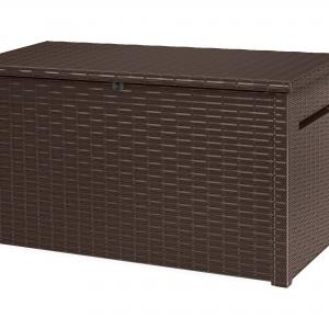 Keter Java Extra Large 230 Gallon Rattan Style Deck Box, Plastic Resin Outdoor Storage, Espresso Brown