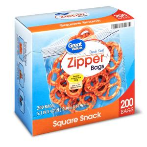 Great Value Zipper Square Snack Bags, 200 Count