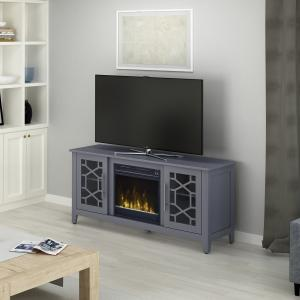 Elmhurst Cool Gray TV Stand for TVs up to 60″ with Electric Fireplace