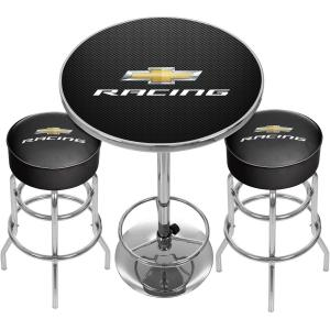 Chevrolet Racing Game Room Combo, 2 Bar Stools and Table