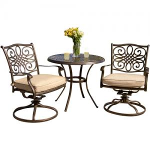 Hanover Traditions 3-Piece Bistro Dining Set with Two Alumicast Swivel Rockers and a 32 in. Round Table
