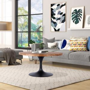 Gideon 36″ Round Reclaimed Wood and Metal Pedestal Coffee Table