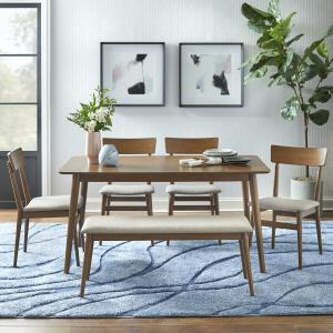 TMS Newington Mid- Century 6pc Dining Set with Bench , Mocha