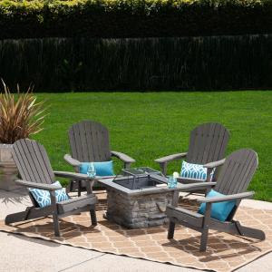 Michaela Outdoor 5 Piece Acacia Wood Adirondack Chair Set with Wood Burning Concrete Fire Pit, Natural Stone, Dark Grey