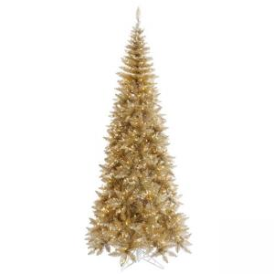 Vickerman 9′ Tinsel Champagne Fir Artificial Christmas Tree with 700 Warm White LED Lights