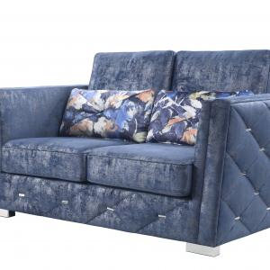 Emilia Loveseat with 2 Pillows in 2-Tone Blue Fabric