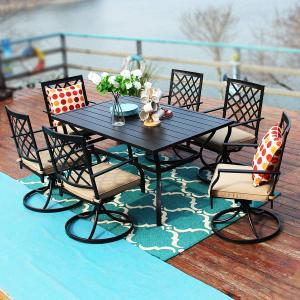 MF Studio Outdoor Patio 60 inch Rectangular Dining Table and Bistro Swivel Chairs Set of 7, Metal Black