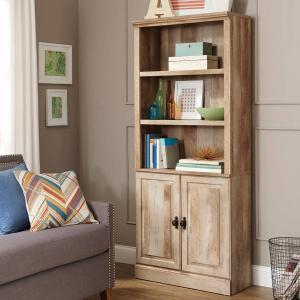 Better Homes & Gardens 71″ Crossmill 3 Shelf Bookcase with Doors, Weathered Finish