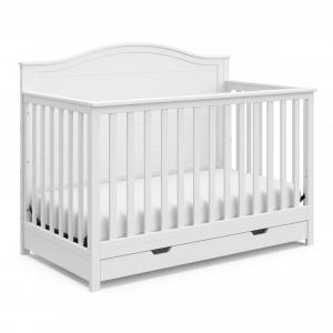 Storkcraft Moss 4-in-1 Convertible Crib with Drawer, White