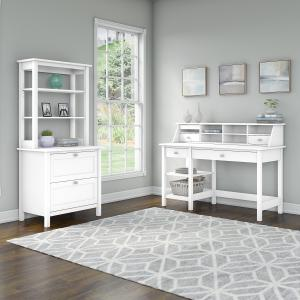 Bush Furniture Broadview 54W Computer Desk with Shelves, Desktop Organizer, Lateral File Cabinet and Hutch