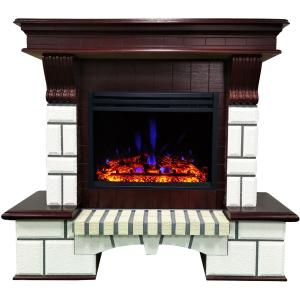 Cambridge 48-In. Belcrest Traditional Faux Brick Electric Fireplace Mantel with Enhanced Log Display, White and Mahogany