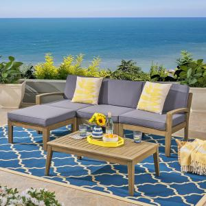 Wilcox Outdoor 5 Piece Acacia Wood Sectional Sofa Set with Cushions, Gray, Dark Gray